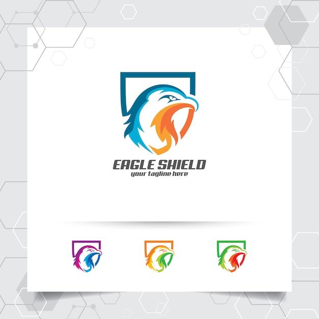 Création de vecteur de logo bouclier aigle avec le concept de sécurité et icône tête aigle. Vecteur Premium