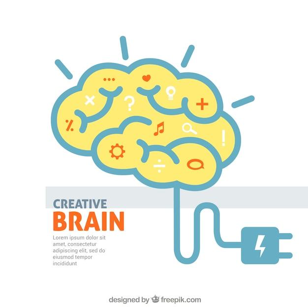 Creative Cerveau Vecteur Premium