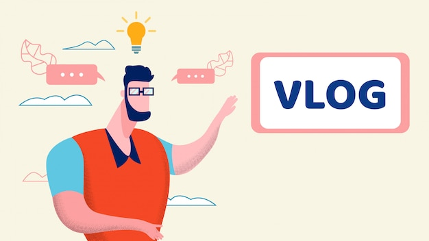 Creative internet vlog idée illustration plate Vecteur Premium