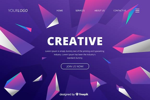 Creative landing page géométrique 3d Vecteur gratuit
