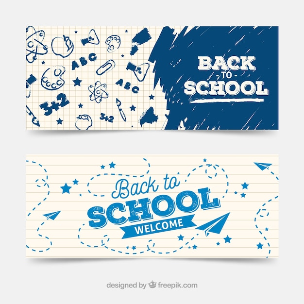 Créative retour aux bannières scolaires Vecteur gratuit