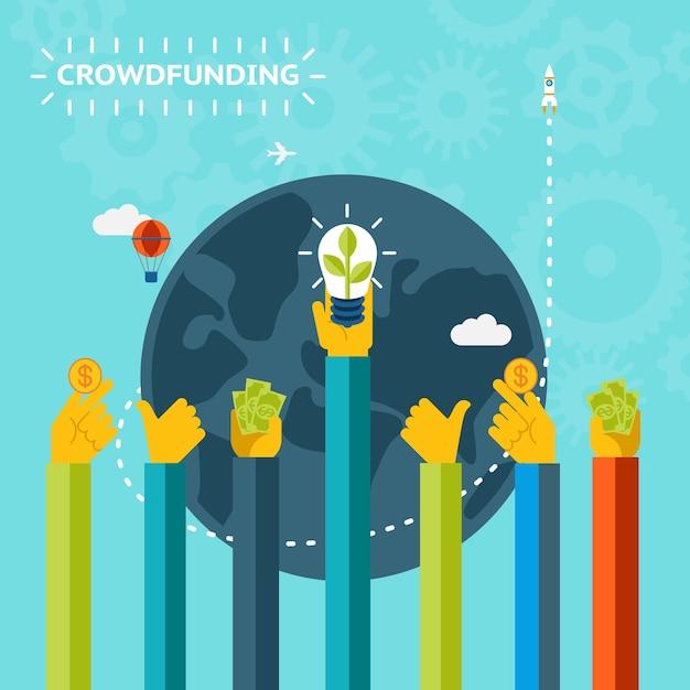 Creative World Crowd Funding Concept Design Graphique Sur Fond Bleu Ciel à Motifs. Vecteur gratuit
