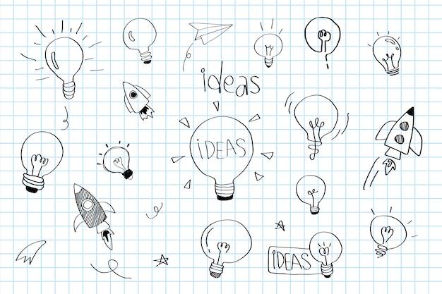 Créativité Idées Ampoules Doodle Collection Vecteur Vecteur gratuit