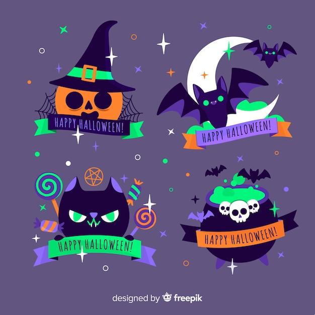 Créature de la collection d'étiquettes halloween nuit Vecteur gratuit