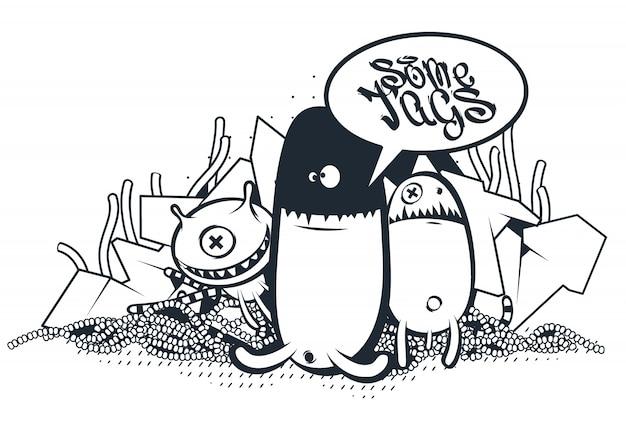 Créatures Dessinées à La Main Dans Le Style Graffiti Vecteur gratuit