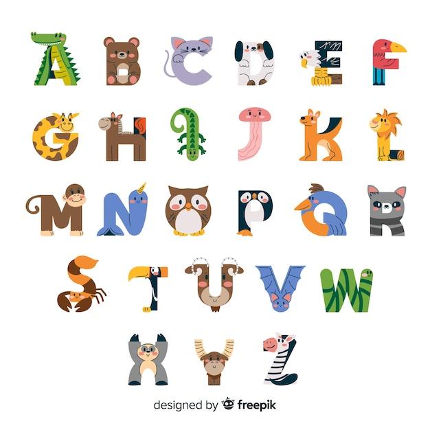 Créatures minimalistes de la faune en alphabet Vecteur gratuit