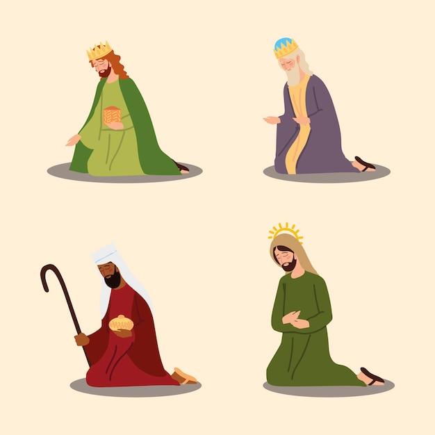Crèche De Dessin Animé De La Nativité Trois Rois Sages Et Icônes Joseph Vector Illustration Vecteur Premium