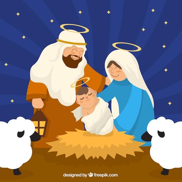 Coloriage Crèche de Noël et Nativité sur Hugolescargot.com
