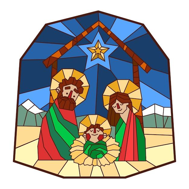 Crèche De Noël En Vitrail Vecteur gratuit