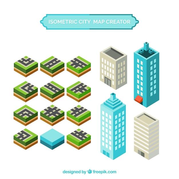 Créer une carte de la ville avec des éléments en vue isométrique Vecteur gratuit