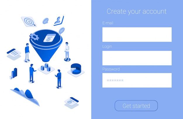 Créer un compte promotion pour augmenter l'entonnoir de ventes Vecteur Premium