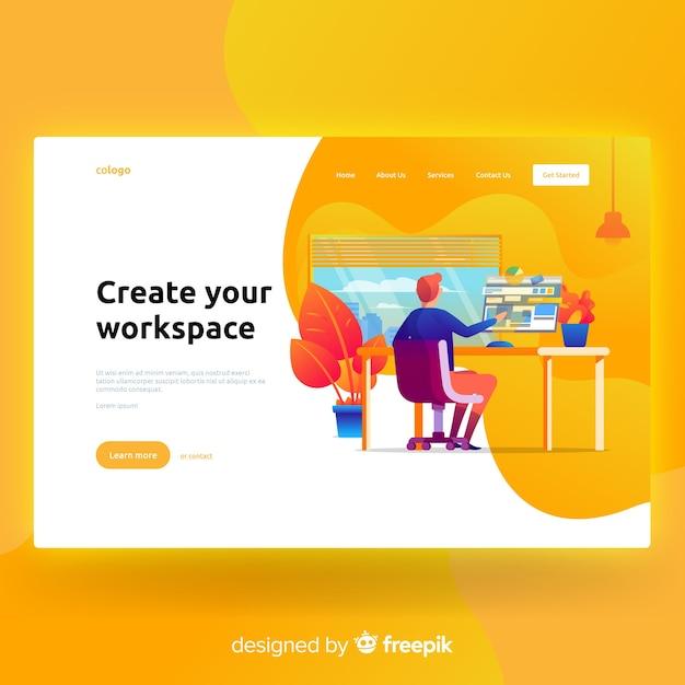 Créez votre page de destination de l'espace de travail Vecteur gratuit
