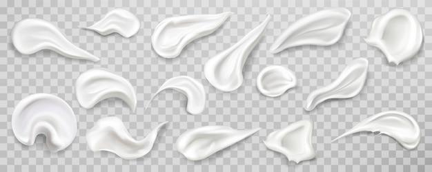 La crème blanche frottis ensemble d'échantillons. Vecteur gratuit
