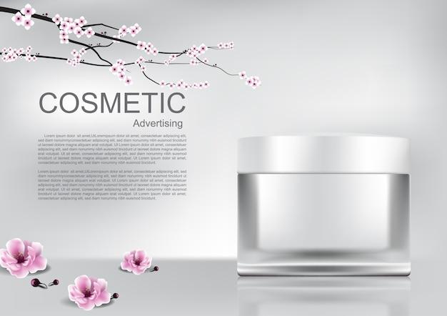 Crème Cosmétique Blanche Et Fleurs De Sakura Vecteur Premium