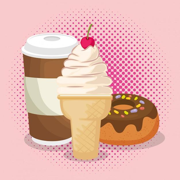Crème glacée et beignet avec café Vecteur gratuit