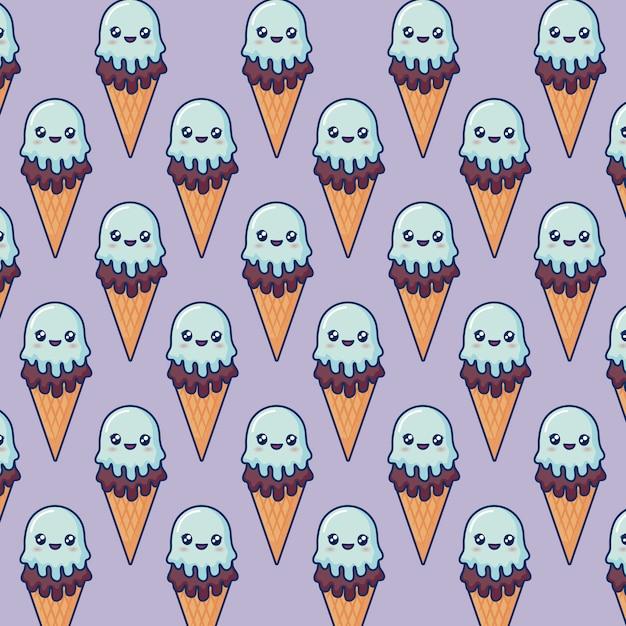 Crème Glacée Kawaii Vecteur gratuit