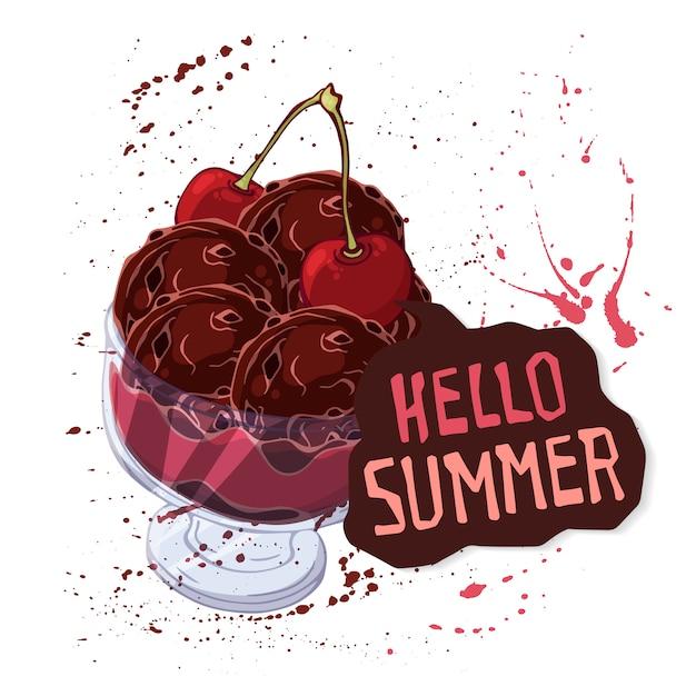 Crème glacée de vecteur dans un bol décoré de baies, de chocolat ou de noix. Vecteur Premium