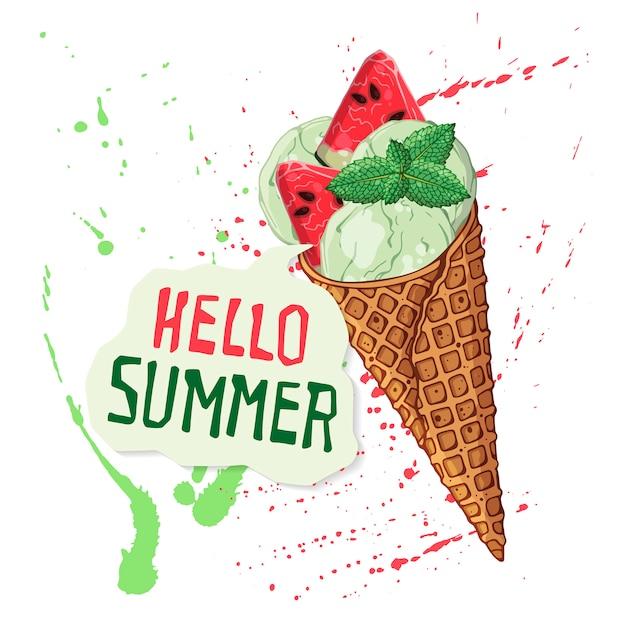 Crème glacée de vecteur dans les cônes de gaufres décorées avec des baies, du chocolat ou des noix. Vecteur Premium