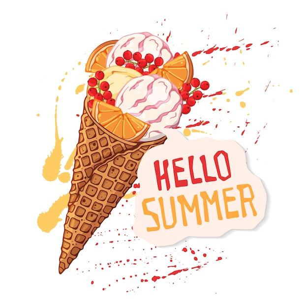 Crème glacée de vecteur dans les cônes de gaufres décorées avec des tranches d'orange Vecteur Premium