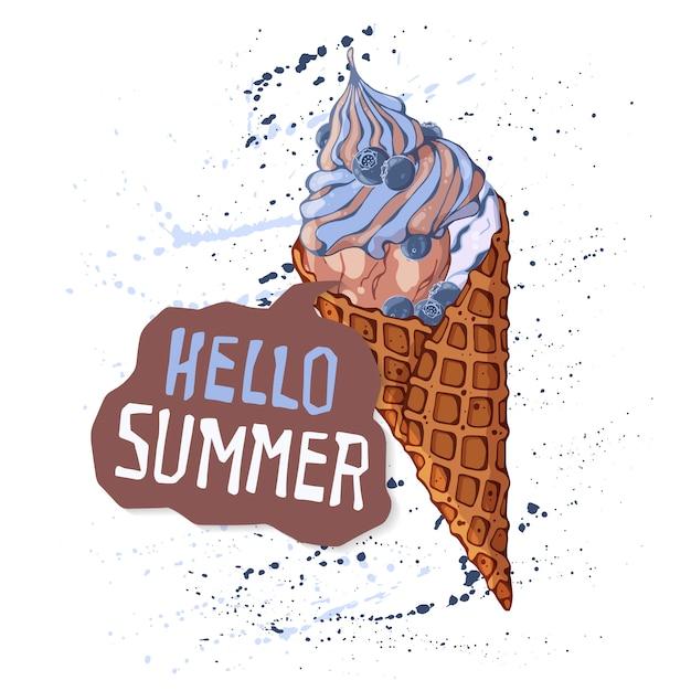 Crème glacée de vecteur dans les cônes de gaufres Vecteur Premium