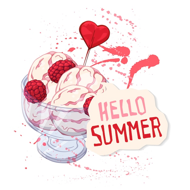 Crème glacée de vecteur dans une coupe en verre décorée de framboises Vecteur Premium