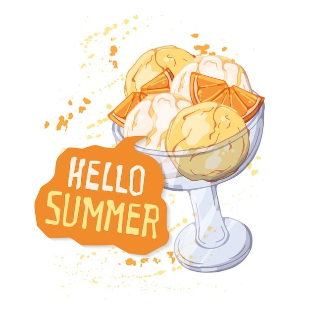 Crème glacée de vecteur dans une coupe en verre décorée avec des tranches d'orange Vecteur Premium