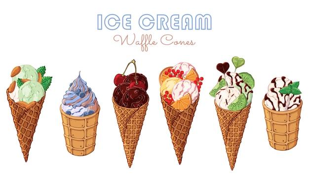 Crème glacée de vecteur décorée de baies, de chocolat ou de noix. Vecteur Premium
