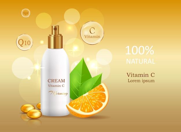 Crème naturelle à la vitamine c avec facteur de protection solaire Vecteur Premium