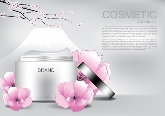 Crème ouverte avec fleurs et branche Vecteur Premium