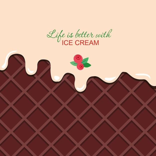 Crème de vanille fondue sur fond de gaufrette au chocolat avec un exemple de texte Vecteur Premium