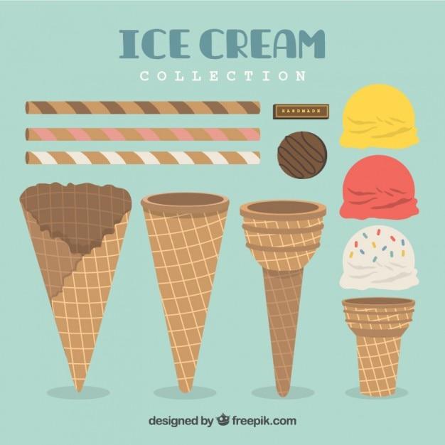Crèmes glacées et gaufrettes en design plat Vecteur gratuit
