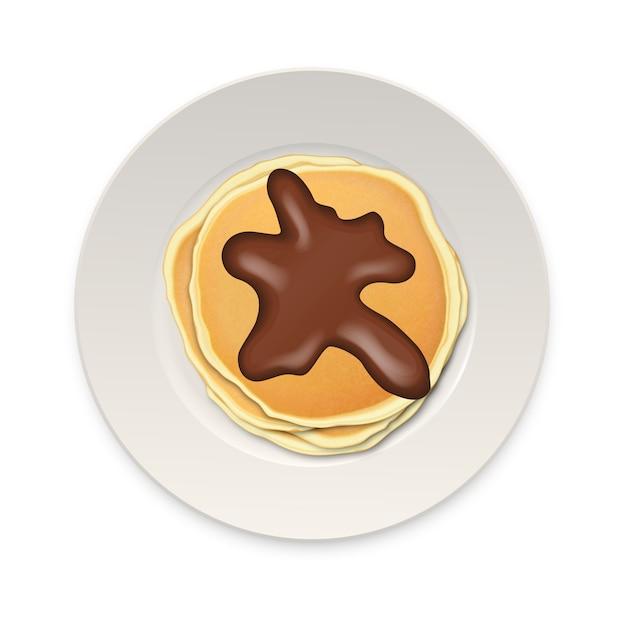 Crêpe Réaliste Au Chocolat Sur Une Plaque Blanche Closeup Isolé Sur Fond Blanc, Vue De Dessus. Vecteur Premium