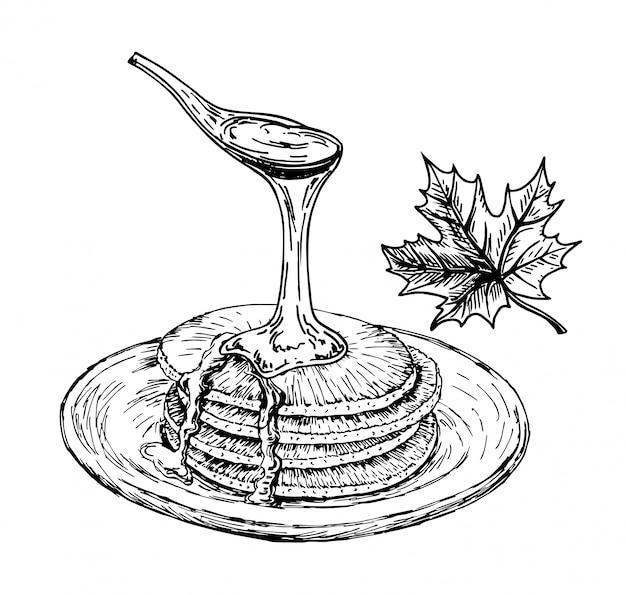 Crêpes Au Sirop D'érable. Crêpes Sur Le Croquis De La Plaque, Petit-déjeuner Style De Dessin Dessiné à La Main Vintage. Vecteur Premium