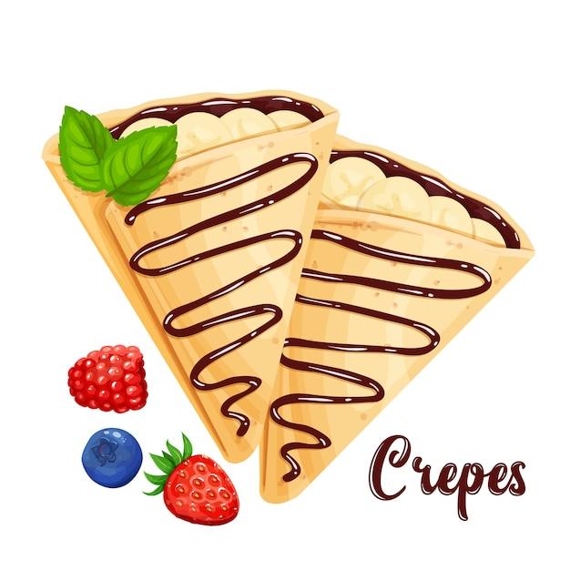 Crêpes Aux Bananes Et Crêpes Au Chocolat Illustration Vecteur Premium