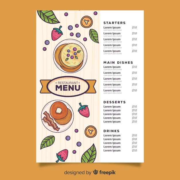 Crêpes avec une variété de menu de légumes Vecteur gratuit