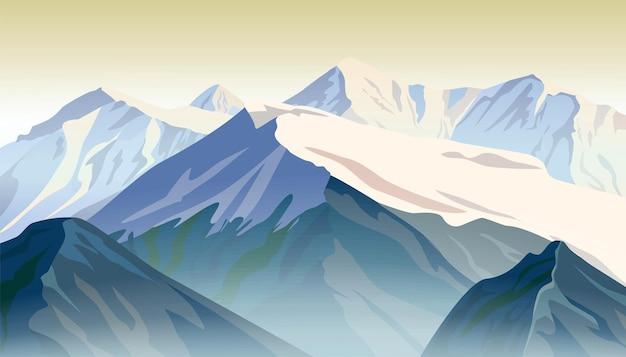 Crêtes De Montagne. Illustration Vectorielle Du Lever Du Soleil. Vecteur gratuit