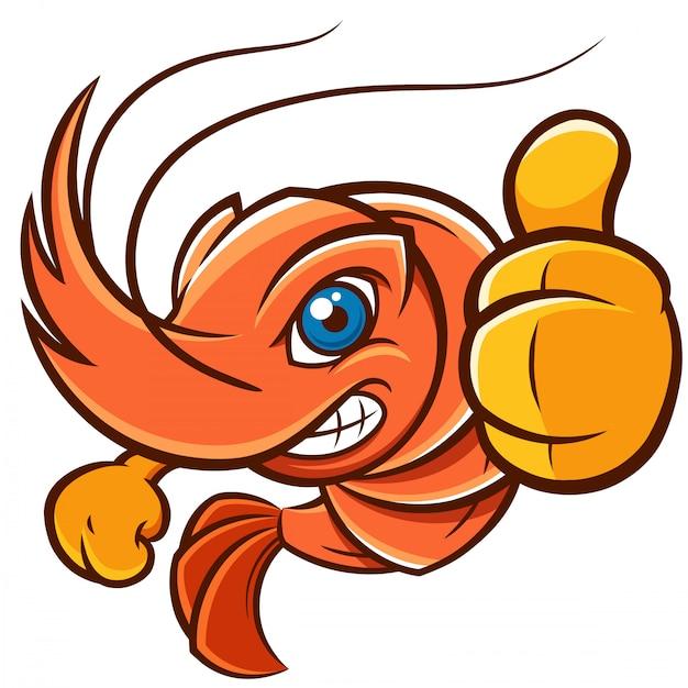 Crevettes de dessin animé Vecteur Premium