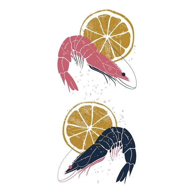 Crevettes avec des tranches de citron. Vecteur Premium