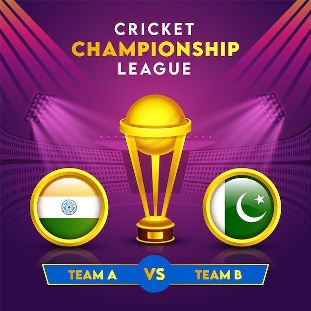 Cricket Championship League Concept Avec Golden Winning Trophy Cup Et Drapeau Des Pays Participants De L'inde Contre Le Pakistan Dans Le Cadre Du Cercle. Vecteur Premium