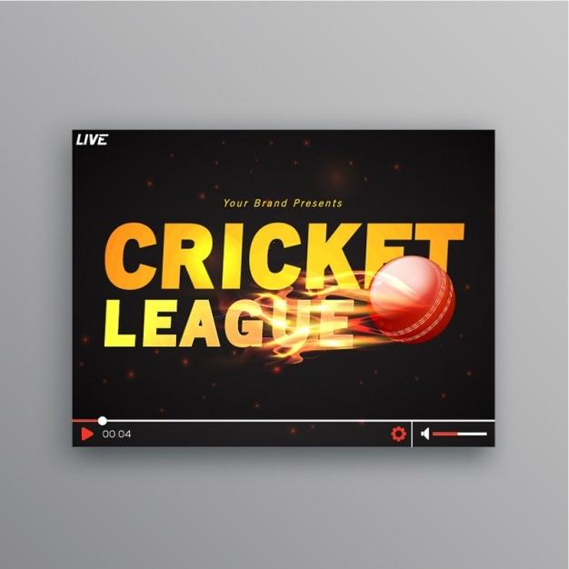 Cricket Fond Avec Boule Flamboyante Vecteur Premium
