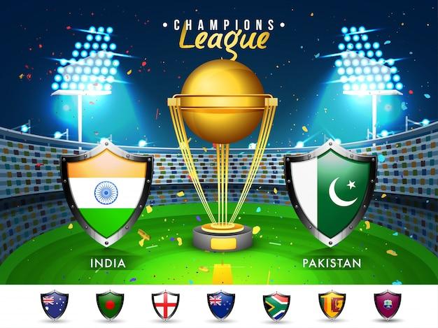 Cricket Match Pays Participants Flag Shields Avec L'inde Et Le Pakistan A Souligné Le Stade Brillant Du Stade. Vecteur Premium