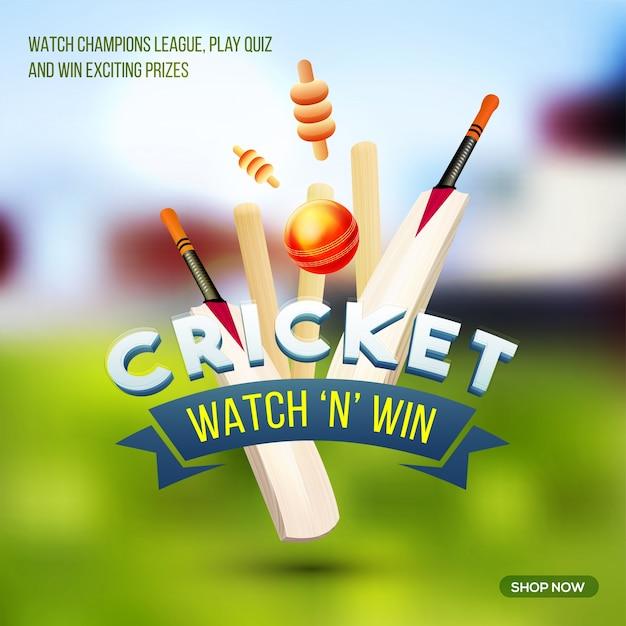 Cricket Sports Affiche Bannière Ou Flyer Avec Des Chauves Souris