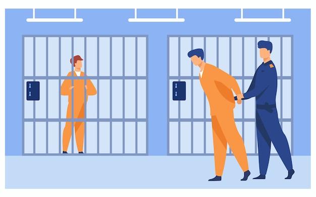 Criminels En Prison Concept Vecteur gratuit