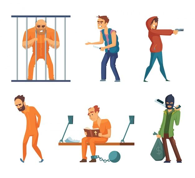 Criminels et prisonniers. jeu de personnages en style cartoon Vecteur Premium