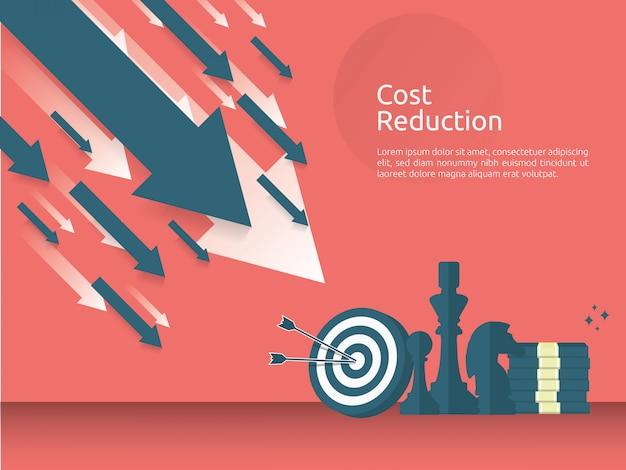 Crise de finance d'entreprise ou concept de stratégie de réduction des coûts Vecteur Premium
