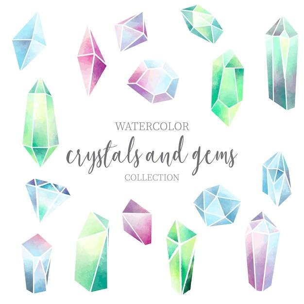 Cristal et gemme collection aquarelle Vecteur gratuit