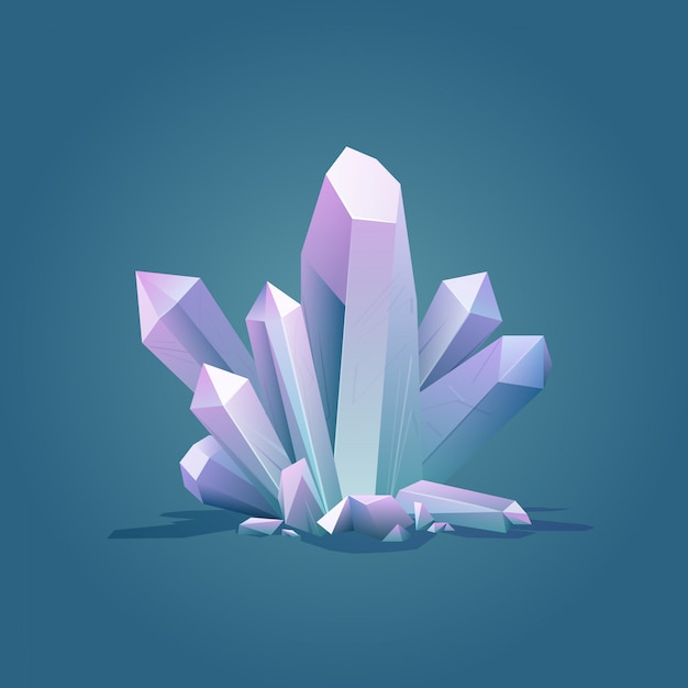 Cristal géométrique quartz couleur luxe Vecteur Premium