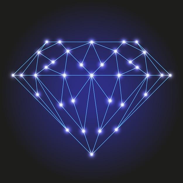 Cristal Ou Pierre Précieuse Facettée à Partir De Lignes Bleues Polygonales Et D'étoiles Brillantes Vecteur Premium