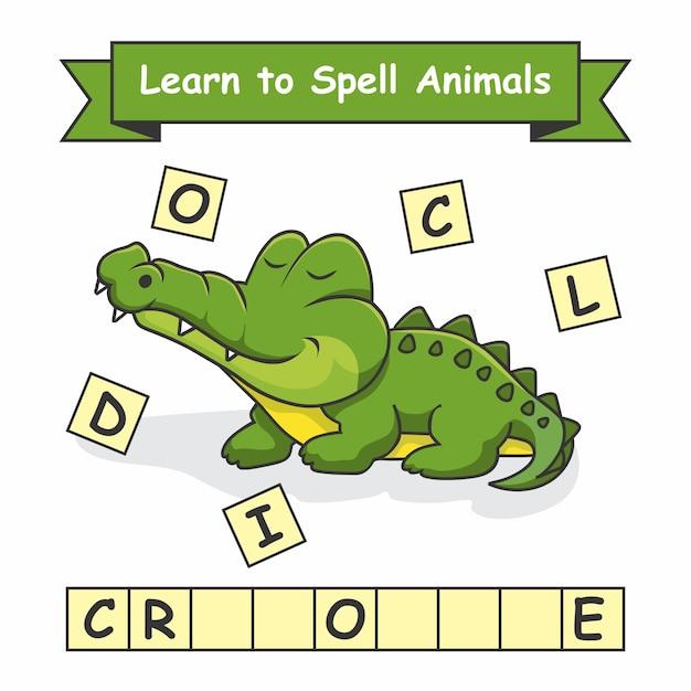 Crocodile Apprenez à épeler Les Animaux Vecteur Premium