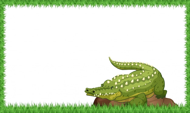 Un crocodile sur cadre nature Vecteur gratuit